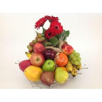 Cesta Gérbera Frutas & Frutas